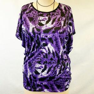 Moon Collection Tops - Purple Leopard Print Flutter Sleeve Blouse XXL